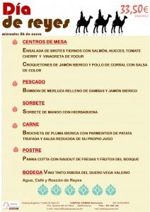 Menú para adultos del día de Reyes 2016 en el Camping Cáceres