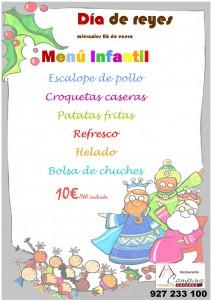 Menú infantil del día de Reyes 2016 en el Camping Cáceres
